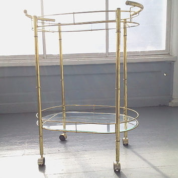 Vintage, Bar Cart, Hollywood Regency Style, Metal and Glass