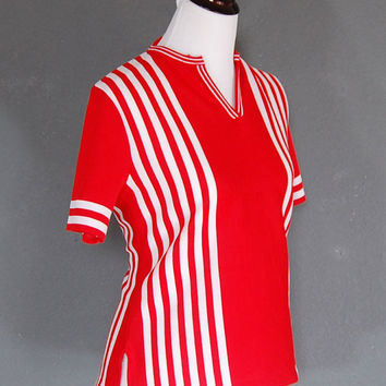Vintage Red Striped Top / Short Sleeves / Red  and White Stripes / 1960's