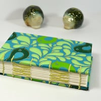 Bullet Journal, Gift for Mom, Baby Shower Note Book, Green Birds, Linking Stitch Hard Cover, Mohawk Paper, Food Diary, Torn Edge Book