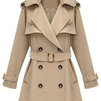 Double Breasted Back Cape Belted Coat - OASAP.com