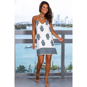 Ivory and Teal Printed Short Dress
