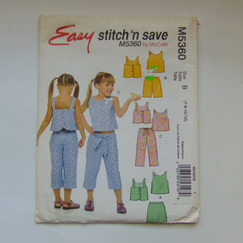 Easy Stitch 'n Save Sewing Pattern M5360 Children and Girls Tops, Skort, Shorts and Capri Pants