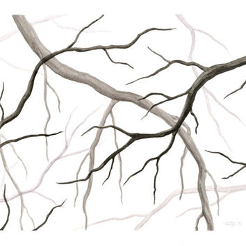 "Original Watercolor Painting, Gray Tree Branch Silhouette, Bare Branches Wall Art, Grey Nature Home Decor, Winter Tree Painting 8"" X 10"""