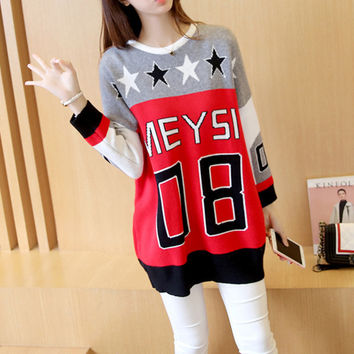 Fashion number word knit Set head Sweater