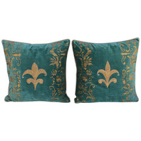 Pair of Fleur de Lis Appliqued Stenciled Pillows