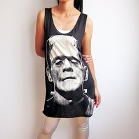 Frankenstein Dress Classic Monster Horror Gothic Movie T Shirt Tank Top Dress Women Singlet Size M