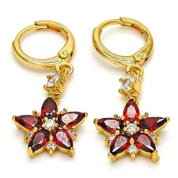 Gold Layered 02.206.0019 Long Earring, Flower Design, with Garnet and White Cubic Zirconia, Polished Finish, Gold Tone