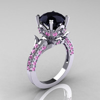 Exclusive 14K White Gold 3.0 Carat Black Diamond Light Pink Sapphire Diamond Solitaire Blazer Ring R401-14KWGLPSD