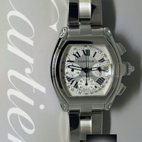 Cartier Roadster Chronograph Stainless Steel Silver Dial Mens Watch 2618