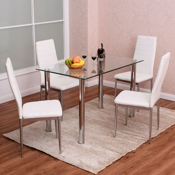 Costway 5 Piece Dining Set Table and 4 Chairs Glass Metal Kitchen Breakfast Furniture | Overstock.com Shopping - The Best Deals on Dining Sets