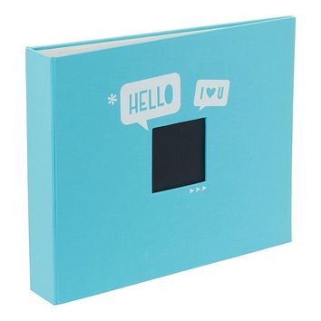 American Crafts ''Hello'' 12'' x 12'' D-Ring Album (Blue)