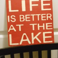 Life is Better on the Lake wooden primitive typographical sign | primitivetreellc - Folk Art & Primitives on ArtFire
