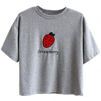 Strawberry Pattern Embroidery Drop Shoulder Tee - OASAP.com