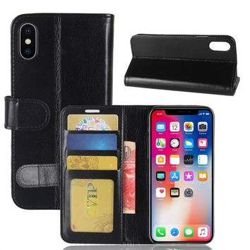 Phone Wallet Case Durable and Slim Lightweight with Classic Design Ultra-Strong Magnetic Closure for Apple iPhone X (Black)
