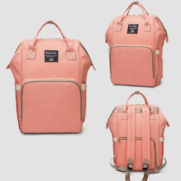 Oxford Zipper Backpack  (Peach)