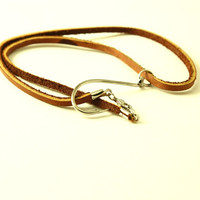 Leather Fish Hook Necklace - Fish hook jewelry
