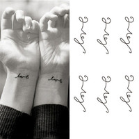 5pcs Simple Love Temporary Tattoos Sticker Love Letters Waterproof Tattoo Body Art