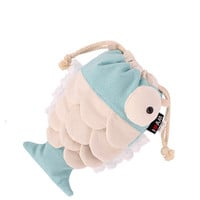 Cute Fish Canvas Handbag Clutch In Blue