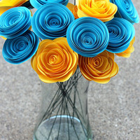 12 Elegant Yellow & Blue Paper Flowers - Just Because Gift - Centerpiece - Wedding Decor -  Home Decor - Gift - Party - Baby Shower