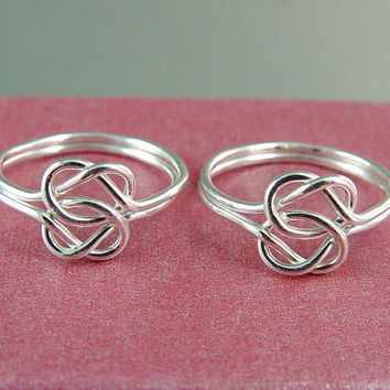 Two Silver Double Love Knot Rings / Infinity Knot Ring / Mother Daughter Ring / Best Friends Ring / Sisters Ring / Commitment Ring