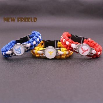 Hot Game Go Team Valor Mystic Instinct Logo Paracord Bracelet Rope Chain Outdoor Fashion Jewelry for Women and Men fansKawaii Pokemon go  AT_89_9