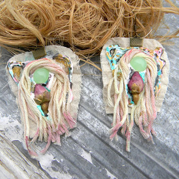Textile earrings eco organic jewelry rustic jewelry pastel fashion statement jewelry romantic pink, mint, whimsical english countryside