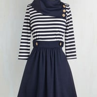 Nautical Mid-length 3 A-line Coach Tour Dress