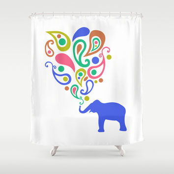 Multi-Colored Paisley Elephant Pattern Design Shower Curtain by Zany Du Designs