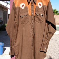 Country Western Wear Shirt Men's Brown Rockabilly Shirt Pearl Snaps Long Sleeves Bronco Rodeo Shirt Size 17-36