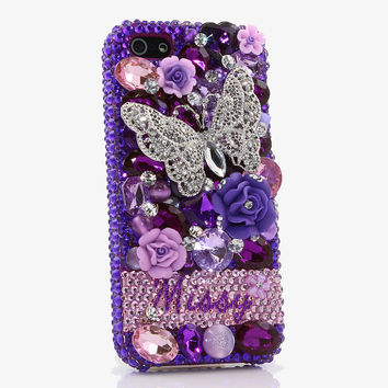 Purple Butterfly Personalized Name & Initials Design (style PN_1049)