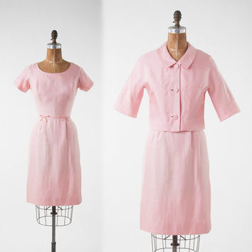 Vintage 1960s Petal Pink Dress Set, Two Piece Silk Wiggle Dress & Cropped Jacket, Bridal Spring Summer