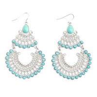 Turquoise & Silver Tiered Chandelier Earrings