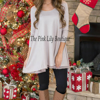 Breeze On By Taupe Tunic