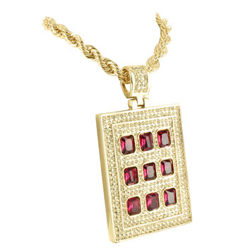 Shop ruby pendant necklace gold on wanelo mens yellow gold finish ruby lab diamond pendant checker board charm necklace mozeypictures Choice Image