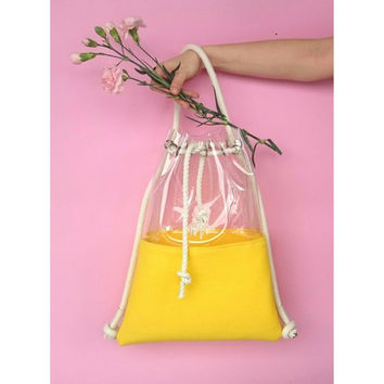 Clear backpack, Bucket Bag, Tote Bag, Felted bag, felt backpack, hobo Bag, Felt Tote, yellow bagpack, Ecofriendly bag,Shoulder bag, 2in1