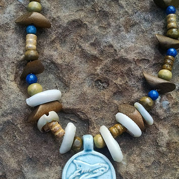 Summer Ocean, Shark Ceramic Pendant, Sea Shells, Wooden Beads, Blue Agate Beaded Pendant Necklace