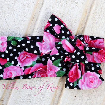 Bright Pink Headwrap Baby, Pink Rose Headband Baby, Valentine Baby Headwrap, Black Polka Dot Head Wraps For Babies, Infant Headbands