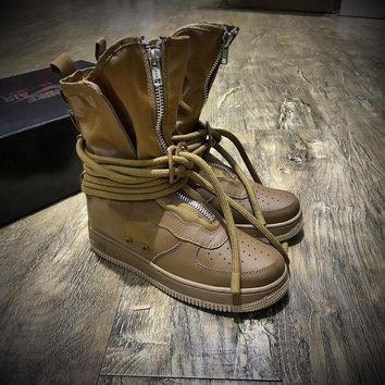 LMFON6GS Nike SF Air Force 1 High AF1 All Black Paratroopers Drak Brown Women Men Running Sport Casual Boots AA1128-204