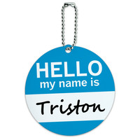 Triston Hello My Name Is Round ID Card Luggage Tag