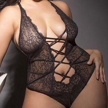 Sexy Plus Size Nazzy Plunge Lace-Up Cheeky Back Lace Teddy