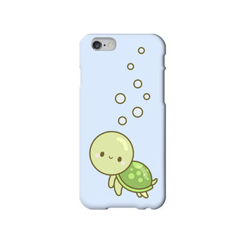 Cute Smiley Turtle with Bubbles Kawaii iPhone 6 /5/5s/5c/4/4s case/cover Blue - Vintage, Retro, Japanese, Cartoon, Smiley Food, Happy