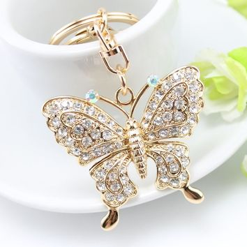 Exquisite fashion Rhinestone Butterfly Keychain