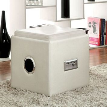 Furniture of america CM-AC210WH Armoni collection white vinyl square storage ottoman foot stool with bluetooth speaker system