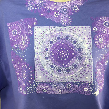 Graphic Tee - Purple Painted Shirt - Boho Shirt - Painted Tee - Hand Painted Clothing - Large Purple T Shirt for Women -Hand Painted T Shirt