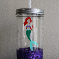 Disney's Little Mermaid, Ariel Glitter-Dipped Mason Jar Tumbler, Sparkle Cup