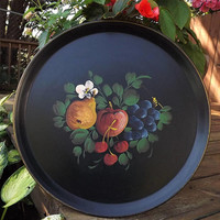 Big Round Black Tray, Vintage Metal Tray, Hand Painted Fruit Tole Tray, Cherry Apple Pear Grape Tray, Decorative Wall Hanging Serving Tray