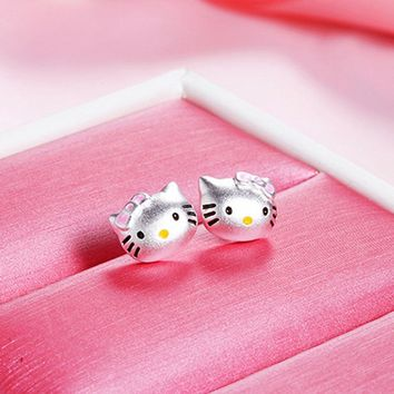 1 Pair Silver Tone Cute Cat Stud Earrings  or Necklace