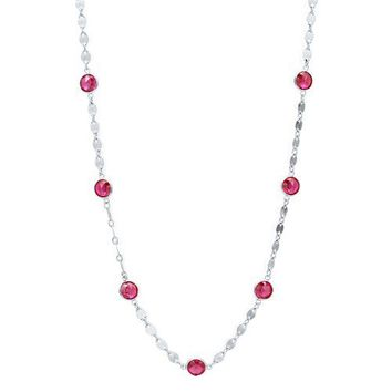 """Sterling Silver 925 Ruby Cubic Zirconia CZ Station Necklace 18"""" #n995-02"""