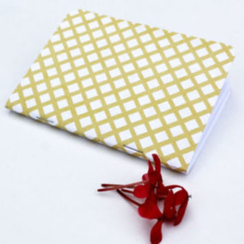 Yellow White Diamond Stripes Traveler's Notebook Journal Stationary Planner Insert Blank Pages Sketchbook
