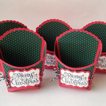 Pack of 5 - Christmas Party Favors - Holiday Treat Boxes - Fry Boxes - Goody Bags